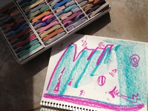 Scribbling with pastels in an attempt to release some of this confusion energy.