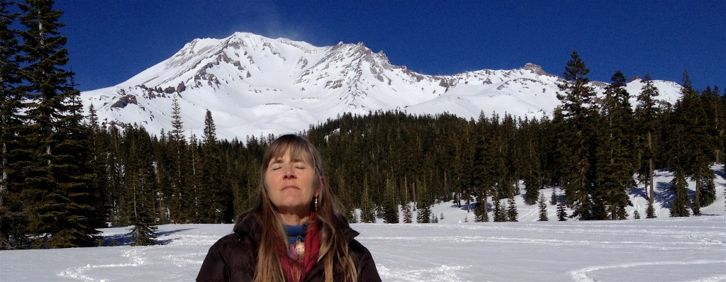 Communing with Mount Shasta in the sunlight.