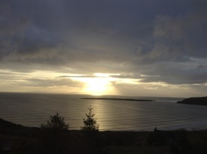 The sun doing what it does, beaming lovelight to us on the Isle of Skye