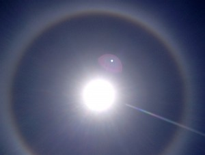A ring around the sun that appeared the day before the solstice. I love the rainbow ray that was reaching out to me and the pink orb of love.