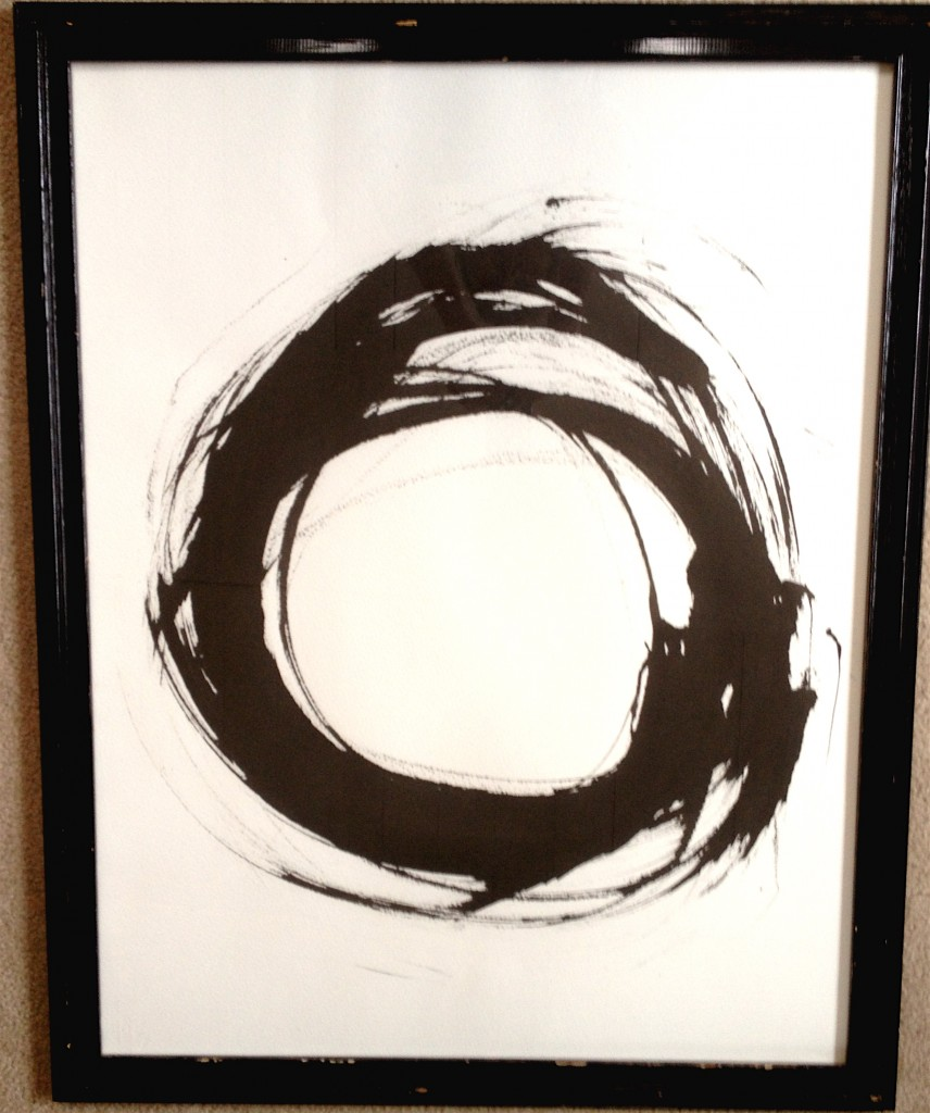 Unity consciousness captured from my first attempt at using a huge Japanese brush with ink. I did this in Sante Fe a couple of years ago and just unearthed it and framed it. It makes my heart sing.