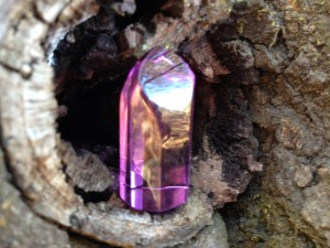 I was playing with this new crystal in the woods. As I placed it in a nook of the tree, I was surprised to see a whole landscape appear that did not look like a reflection of where I stood. Magic!