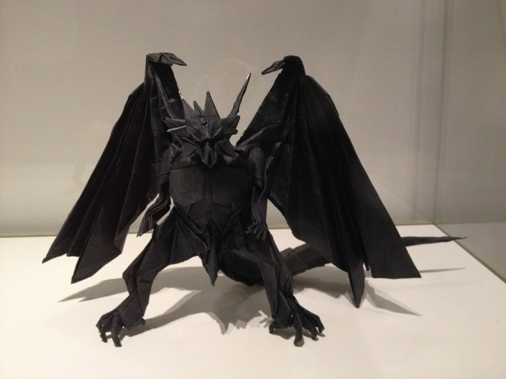 This character was a a recent origami exhibit. The old me would have shied away from him, the new me, embraced his darkness.