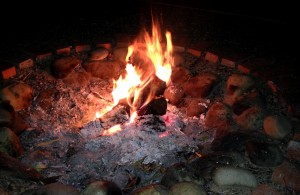 Our outdoor firepit blazing.