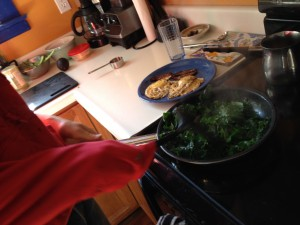 Bacon grease flavoring the eggs and kale, yum.