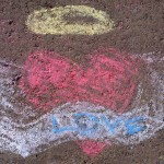 A chlld's chalk drawing on the sundial bridge that spoke of hearts with wings.