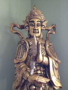 My friend's Tibetan temple guardian statue, named Wee-To. He is aligning the knife with his truth.