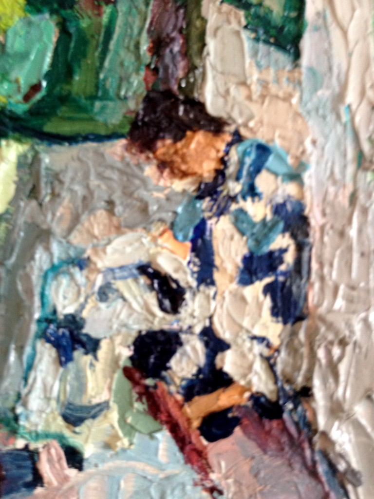 I love the magic of finding this women, bent to the task on her lap, within the above painting. We are all deeply engaged in our task, adding to the tapestry of beauty being woven on this earth.