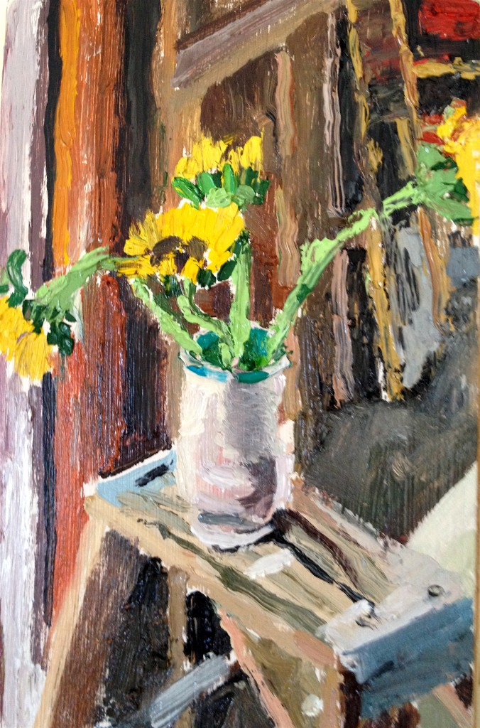 I loved the roughness of the old shed my son works in juxtapostioned with the yellow light of the sunflowers.