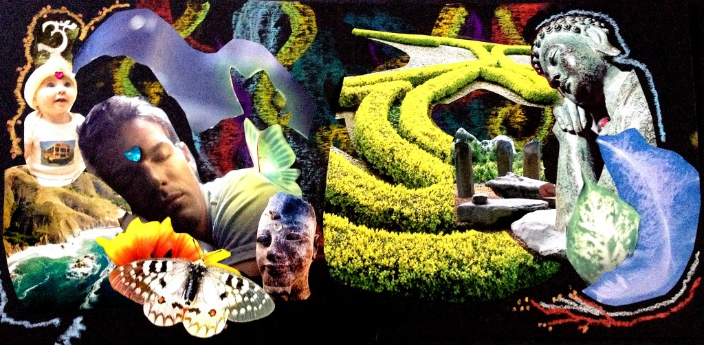 A friend's collage of the awakening of the divine masculine, all flowing.