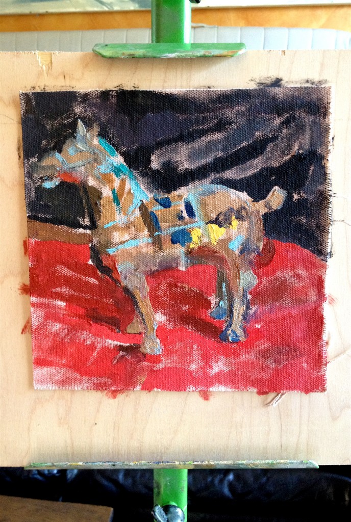 My son, Gabriel's painting in celebration of the Year of the Horse.