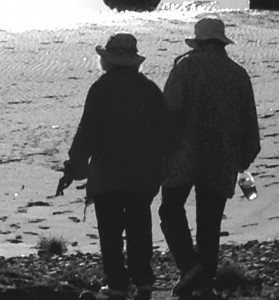 I watched this elderly couple make their way down to the beach, holding hands while carrying a bottle of wine to share. They had arrived to watch the sunset. They spoke so eloquently to me of the tenderness of  love.