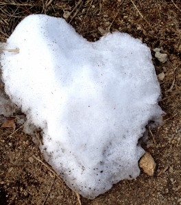 A snow heart left outside the backdoor,  a gift from the sun/snow/elementals reflecting the love I felt everywhere.
