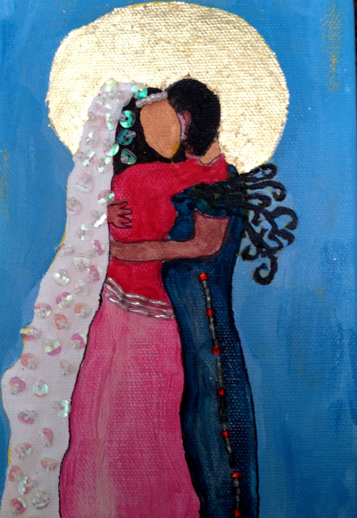 My latest beloved painting,  the marriage of the masculine and feminine in my being.