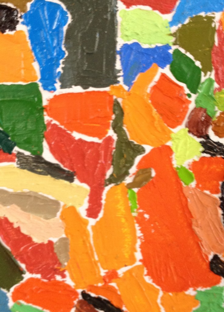 A close up of Gabriel's painting, it looks to me like a girl with a ponytail sitting next to a boy with a cap on. They have brought their part to the whole, just as we are asked to.