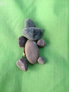 This little guy was one of the gifts left outside my tent door by the elementals. One day it was a bark heart, one day a few berries, a heart rock. All signs of how all the kingdoms want to support and create with us.