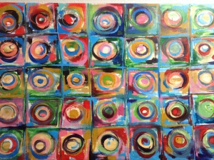 Circles of love, one of my son, Gabriel's earlier paintings that graces the living room.