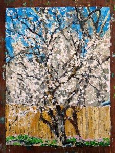 One of my son, Gabriel's latest paintings. The blossoms seem to waft their fragrance into my world.
