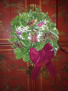 My daughter in love sent me this wreath she made. it brightened my cottage with holiday cheer.