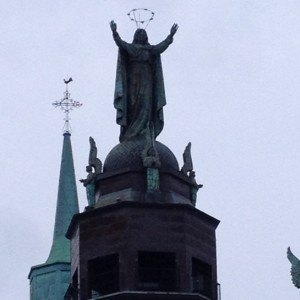 Mother Mary raising her arms over the port, blessing the sailors as they entered and departed. She stands on the oldest cathedral here in Montreal. I love the circle of stars above her head.