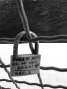 A lock on a bridge proclaiming this love.