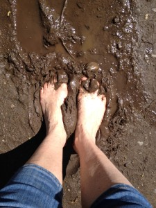 Decided to feel the earth on my walk, found some mud puddles on the way.