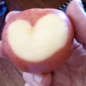 My son was preparing the potatoes when I noticed the heart shining.