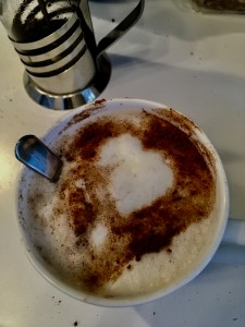 My foamed milk and cinnamon gave me a message of love this morning!
