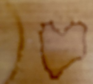 Hearts of love show up for me most days, this one a coffee stain on the counter.